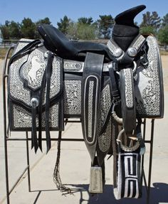 Unique Charro Saddle, Hand Embroidered! Comes with matching spurs ...