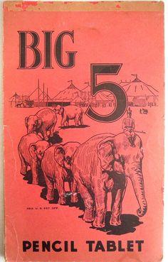 Big 5 Circus Pencil Drawing Tablet Vintage School Ephemera Elephants Lined Paper