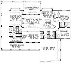 The 1 story floor plan includes 3 bedrooms. #houseplan #bedroom