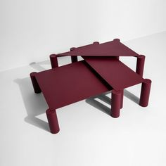 Spanish designer Max Enrich has contrasted simple, geometric panels with bulky, tubular legs to create a trio of nesting steel coffee tables. Designed forFrench design brandPetite Friture, the THIN tables include three different shapes:a square, a rectangle, and a triangle. Steel is used to create both the tubular legs and the slender surfaces of the