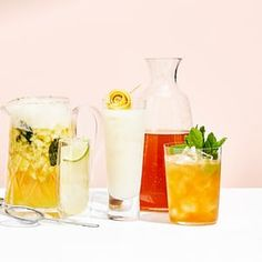 pineapple and kaffir lime crush; mauresque; and Earl Grey and ginger iced tea