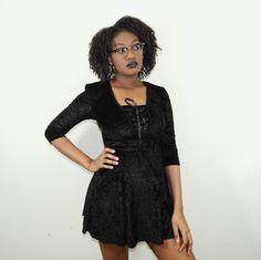 Black Crushed Velvet Lace-up Skater Dress // 90s // by MindMash