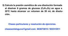 Ejercicio 3 propuesto de Presión Osmótica. Química 1º Bachillerato