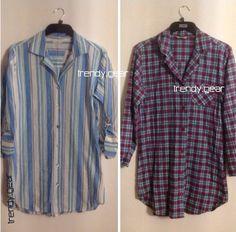M&S Women Stripped & Checked Cotton Nightshirt/ Night Wear SZ 10