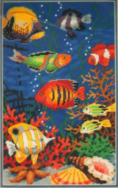 "VINTAGE SUNSET TROPICAL FISH ""UNDERWATER BEAUTIES"" NEEDLEPOINT KIT ~ SEALED…"