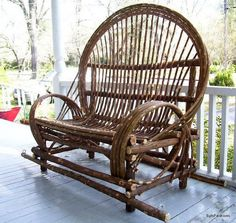 Twig Willow Porch Swing - Hand crafted rustic furniture from AmericanWillow on Etsy. Saved to One of a Kind Furniture. Willow Furniture, Rustic Wood Furniture, Backyard Furniture, Porch Furniture, Furniture Making, Adirondack Furniture, Western Furniture, Furniture Ideas, Furniture Design