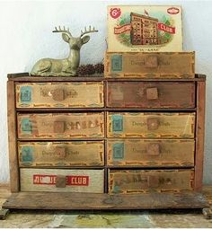 cigar boxes.  This is very easy to do and it looks grand when you display it.  Your Jewerly can be separate very easy.  Ms. SYlvia