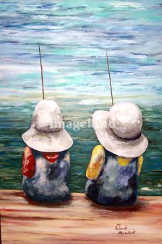 """SITTING ON THE DOCK OF THE BAY"" by Claude Marshall, Bakersfield, CA // Original painting by Claude Marshall has been sold. Couple of kids fishing on the dock of the bay with their large white hats. // Imagekind.com -- Buy stunning, museum-quality fine art prints, framed prints, and canvas prints directly from independent working artists and photographers."