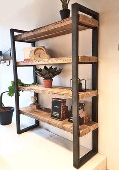 Boekenkast Timber 2x4 Furniture, Dream Furniture, Industrial Furniture, Furniture Design, Home Layout Design, Reclaimed Wood Bookcase, Dressing Room Design, New Living Room, Architecture