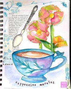 COFFEECUP1 | mixed media- watercolor in sketchbook | Valerie Weller | Flickr Watercolor Journal, Mixed Media, Mixed Media Art