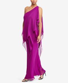 Lauren Ralph Lauren Georgette One-Shoulder Gown - Exotic Fuschia 16  Hermosa e1adbf4c4108