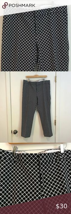 Banana Republic Ankle Hampton Pant Fabulous slim ankle pants in geometric black and white pattern Front side and back pockets + belt loops Gently used and in excellent condition Size 14 Waist 38.5 in. Length 37  in. Inseam 27 in. Leg opening 16 in. 65% Polyester, 32% Cotton, 3% Spandex Machine Wash and Dry or Dry Clean  Bundle and Save! Banana Republic Pants & Jumpsuits Ankle & Cropped Ankle Pants, Legs Open, White Patterns, Pant Jumpsuit, The Hamptons, Size 14, Banana Republic, Slim, Black And White