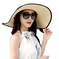 JOYEBUY Women's Floppy Big Brim Hat Bowknot Straw Hat Foldable Roll up Beachwear Sun Hat UPF 50+ (Beige). For product & price info go to:  https://all4hiking.com/products/joyebuy-womens-floppy-big-brim-hat-bowknot-straw-hat-foldable-roll-up-beachwear-sun-hat-upf-50-beige/