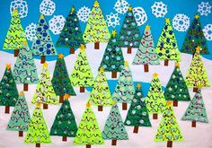 Christmas Tree Forest Could work as a bulletin board or backdrop for the Christmas program. Each child could make a tree and put it up on the bulletin board. Preschool Christmas, Christmas Crafts For Kids, Christmas Art, Christmas Projects, Preschool Crafts, Winter Christmas, Holiday Crafts, Preschool Bulletin, Preschool Winter