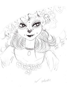 Quick little sketch of La Muerte from The Book of Life because I'm ridiculously excited for the movie and her design is just beautiful. Apologies for how simplified she is, especially her face; I couldn't find a clear enough picture of her.