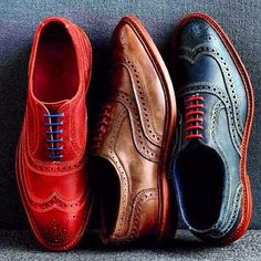 claudemichelle:    Wingtip in colors I would do serious damage in all three colors. Plotting on designs and outfits to compliment each shoe colors. #men #fashion #wingtips #colors #bold    The three kings