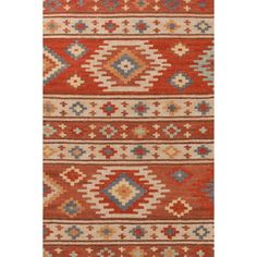 Take an Aztec-inspired print and update it in shades of cinnamon, sand, sky, and fieldstone -- thats our eye-catching new wool kilim area rug.