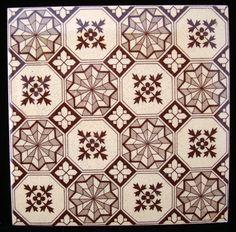Aesthetic Brown Transferware Tiles ~ SNOWFLAKES 1885