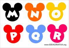 alfabeto mickey e minnie para imprimir Mickey Mouse Clubhouse Birthday, Mickey Mouse Parties, Mickey Party, Minnie Mouse Template, Alfabeto Disney, Valentine Bulletin Boards, Mickey E Minie, Printable Alphabet Letters, Mickey Mouse Birthday