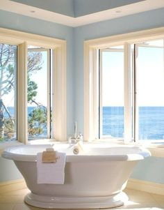 I Want This Bathroom! I don't even need the rest of the house!the bathroom AND the view! Home Interior, Interior And Exterior, Interior Design, Bathroom Interior, Open Bathroom, Bathroom Bath, Bath Tubs, Interior Modern, Dream Bathrooms