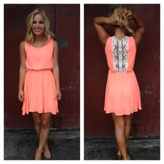 Dress: lace back coral summer