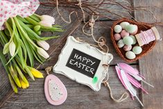 Photo about Cheerful decorations for easter on a wooden background. Image of twine, bunch, eggs - 108802011 Daffodils, Tulips, Wooden Background, Floral Flowers, Happy Easter, Twine, Home Goods, Cheer, Bloom