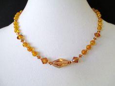Amber and Swarovski Crystal Necklace by mdeja on Etsy, $132.00