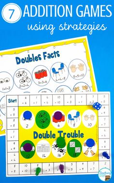 Addition games make learning addition strategies fun. Place in your math centers to help consolidate the mental math strategies you have been teaching to your first and second grade students. Addition Strategies, Addition Games, Math Addition, Addition And Subtraction, Math Board Games, Literacy Games, Word Work Activities, Therapy Activities, Maths Resources