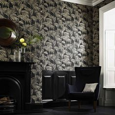 Honolulu Schwarz/Gold Wallpaper by Graham and Brown