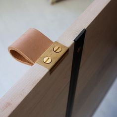 Veg tanned leather pulls on the Latona Hutch will slowly patina from daily use eventually turning to a deep brown. Because details. #studiocidra