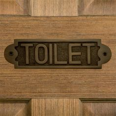 "Solid Brass ""Toilet"" Sign - Antique Brass"