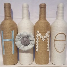 Decorated Wine Bottles - Set of 4 'HOME' by DixieDesignShop on Etsy