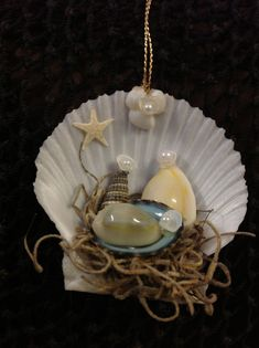 Seashell Nativity Ornament- Manger Scene Ornament