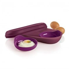 Microwave Breakfast Maker Set:          Includes Breakfast Maker for omelets, oatmeal and French toast. Plus two Inserts for poached eggs and egg patties.In Rhubarb/Royal AmethystDishwasher safeLimited Lifetime Warranty    Item:10049011581