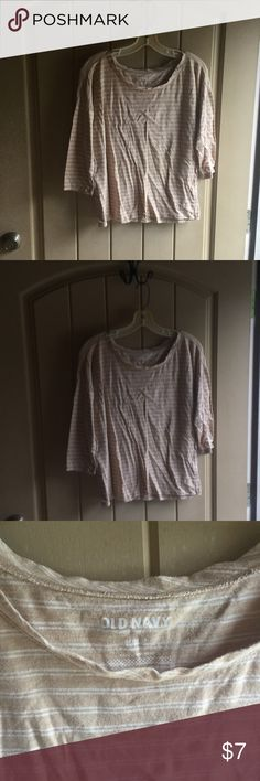 Old navy shirt 3/4 sleeve  stripes  been worned Size medium. Old navy. Stripes been worned no stains. Rips or tears old navy Tops Crop Tops