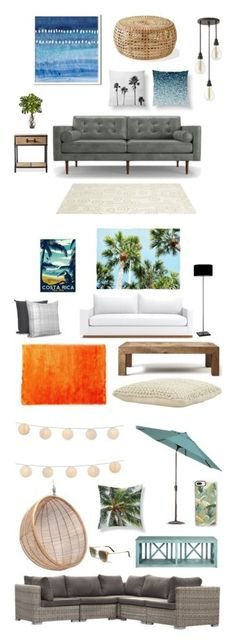 """""""Living Spaces"""" by naturecityco ❤ liked on Polyvore featuring interior, interiors, interior design, home, home decor, interior decorating, West Elm, Joybird, Somerset Bay and Hinkley Lighting"""