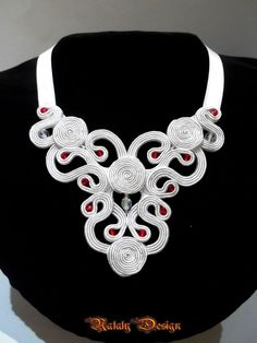 NEW! Soutache Jewelry Necklace Wedding White Red Charm Delight #Handmade