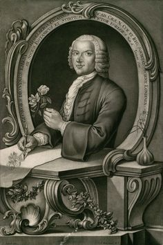 Georgius Dionysius Ehret (1708–1770). This is a mixed mezzotint, stipple and line engraving, 56 × 40.5 cm, by Johann-Jakob Haid for the Plantae Selectae (Nuremburg, 1750–1773), of Christoph Jacob Trew (1695–1769). It's a faithful reproduction of a pencil and wash self-portrait (c.1750) by Ehret.