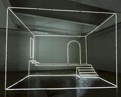 Uno studio, 2003, neon e steel cables, 360 x 500 x 500 cm