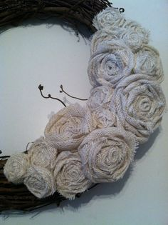 Burlap Wreath of Varying Ivory Flowers by redesignaccessories, $19.00