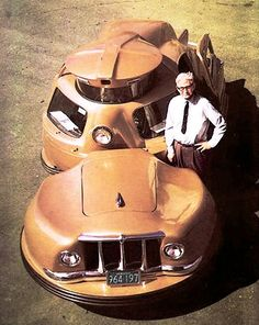 The Sir-Vival articulated car (1958). Walter C. Jerome of Masschusetts was a man possesed by a mission to make the world's safest car. Primarily concerned with head-on collisions, he split his car into two, hoping the front section would absorb collisions, leaving the passenger cabin untouched. Using a heavily modified 1948 Hudson sedan as a rear section, he provided the driver with a 360-degree wraparound windshield, rubber bumpers, seat belts, a padded interior, and built-in roll bars.
