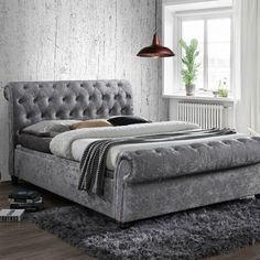 The Castello Steel Ottoman Scroll Sleigh Bed is stylish, luxurious and sure to brighten up any bedroom interior. Boasting copious amounts of discrete storage solutions, high quality construction and a stunningly contemporary finish, the Castello Steel Ottoman Storage Bed, Ottoman Bed, Fabric Ottoman, Upholstered Ottoman, Bed Storage, Fabric Beds, Fabric Storage, Oak Furniture Superstore, Cama King
