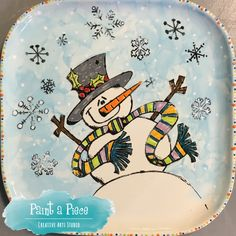 Silkscreen painted pottery snowman plate created at Paint a Piece in Germantown, TN.