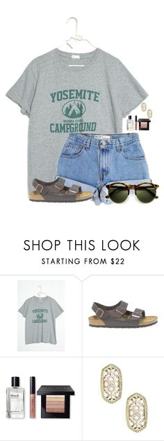 """""""Camp is in-tents!"""" by flroasburn ❤ liked on Polyvore featuring Levi's, Birkenstock, Bobbi Brown Cosmetics and Kendra Scott"""