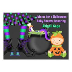 Cute Halloween Neutral Baby Shower Invitation Pumpkins Gifts Costume