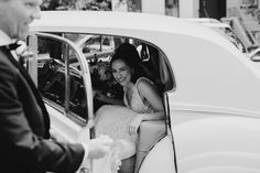 a bride getting out of her wedding car at liberty warehouse in brooklyn, new york city Wedding Car, New York Wedding, Wedding Shoot, Liberty Warehouse, Warehouse Wedding, Wedding Photo Inspiration, Bridal Portraits, Mood Boards, Engagement Session