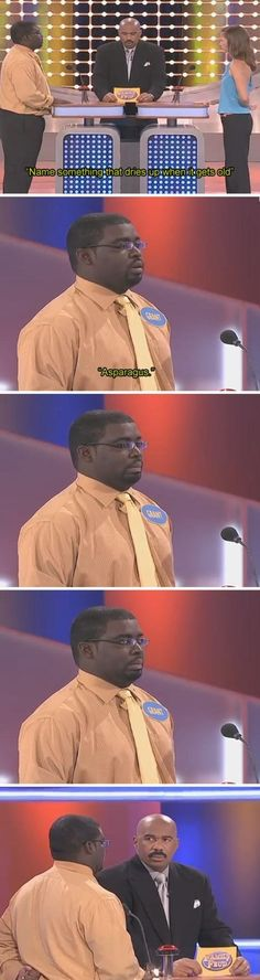 "The moment when even the contestant knew he had failed. | Community Post: 10 Times Steve Harvey's Soul Collapsed On ""Family Feud"""