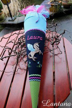 """Schultüte """" Einhorn 7"""" dunkelblau, aus Stoff von lantana auf DaWanda.com"""