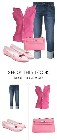 """Denim and Pink"" by sillycatgrl ❤ liked on Polyvore featuring Hudson, Comme des…"