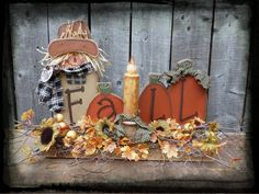 Primitive Wood Pumpkin Patterns | NEW FALL Wood pattern Primitive Country Scarecrow Pumpkins K193 Candle ...